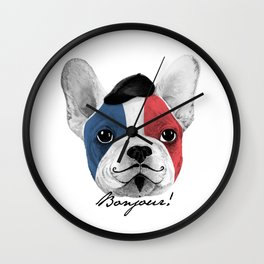 French Bulldog says bonjour - ALT Wall Clock