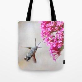 Hummingbird Hawk moth on Valerian flower Tote Bag
