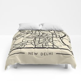 Abstract City Map - New Delhi, India Comforters