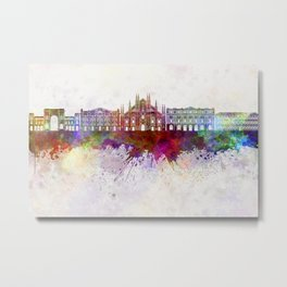 Milan V2 skyline in watercolor background Metal Print