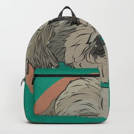 Icons of the Dog Park: Shih Tzu Design in Bold Colors for Pet Lovers Art Print Backpack