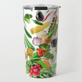 Basket of Healthy Food isolated On White Background Travel Mug