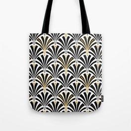 Art Deco Fan Pattern, Black and White Tote Bag