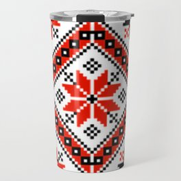 Floralline Red Travel Mug