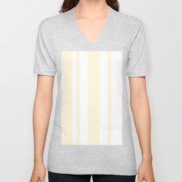 Mixed Vertical Stripes - White and Cornsilk Yellow Unisex V-Neck