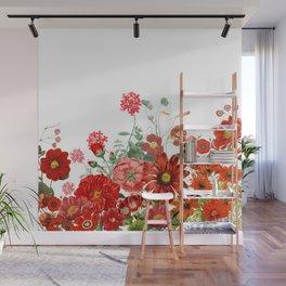 Vintage & Shabby Chic - Red Summer Flower Garden Wall Mural