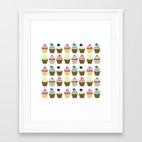 cupcakes Framed Art Prints featuring Cupcakes by heartlocked