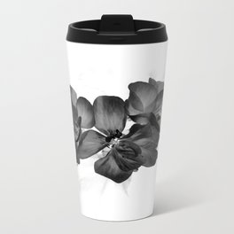 Black Geranium in White Travel Mug