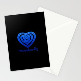 UNCONDITIONALLY in blue on black Stationery Cards