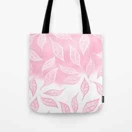 Modern pink white watercolor ombre lace leaf pattern illustration Tote Bag