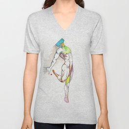 The Male Dancer, nude anatomy, NYC artist Unisex V-Neck
