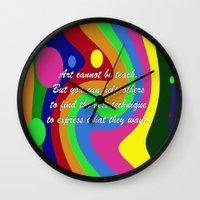 teacher Wall Clocks featuring art teacher by Maria Julia Bastias