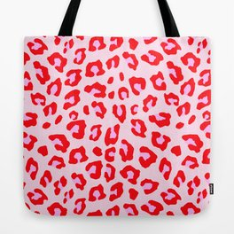Leopard Print - Red And Pink Tote Bag