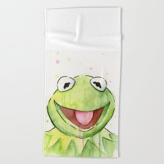 Frog Kermit Portrait Beach Towel
