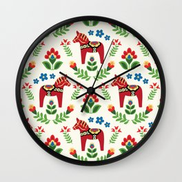 Swedish Dala Horses Red Wall Clock
