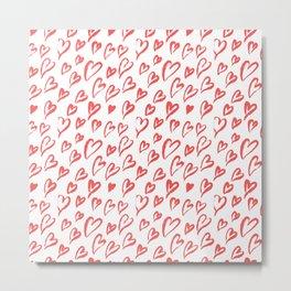 Red hearts seamless pattern Metal Print
