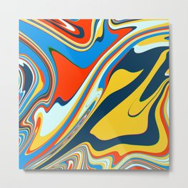Colorful Marble Abstract Art Pattern 004 Metal Print