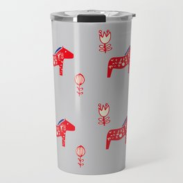 Dala Horse gray Travel Mug