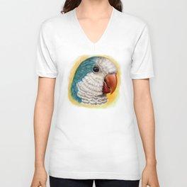 Blue quaker parrot realistic painting Unisex V-Neck