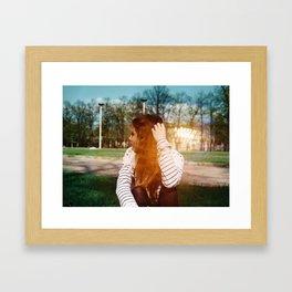 bokeh girl Framed Art Print