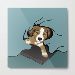 A Puppy In A Blanket Metal Print