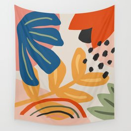Flower Market Madrid, Abstract Retro Floral Print Wall Tapestry