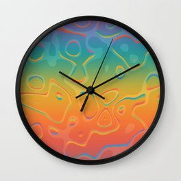 Colorful Holographic Foil Pattern 3d Texture Trendy Colors Wall Clock