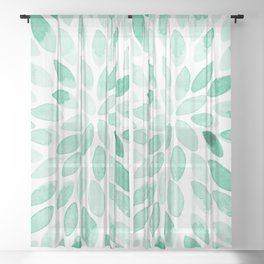 Watercolor brush strokes - aqua Sheer Curtain