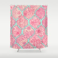 moroccan Shower Curtains featuring Moroccan Floral Lattice Arrangement in Pinks by micklyn