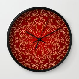 Golden Pattern Design Wall Clock