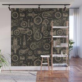 Dark Vintage Motorcycle Pattern Wall Mural
