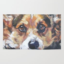 Pembroke Welsh Corgi dog art portrait from an original painting by L.A.Shepard Rug