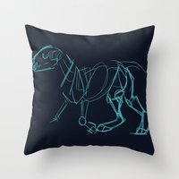 bull terrier Throw Pillows featuring Bull Terrier by Tooel