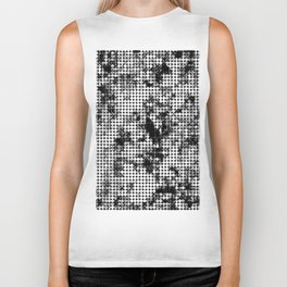 psychedelic circle pattern painting abstract background in black and white Biker Tank