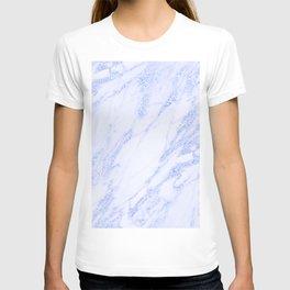 Blue Marble - Shimmery Glittery Cornflower Sky Blue Marble Metallic T-shirt