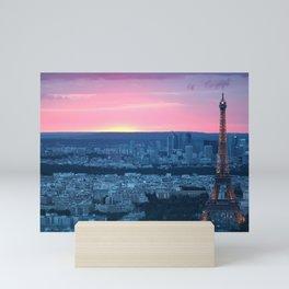 Paris City Sunset Mini Art Print