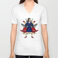 peggy carter V-neck T-shirts featuring Fight like a Girl - Peggy Carter by HayPaige
