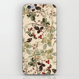 Vintage ivory red green forest berries floral iPhone Skin