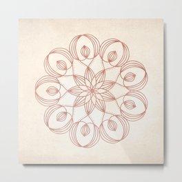 Mandala Floweret Rose Gold on Cream Metal Print