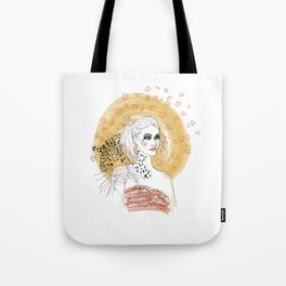 Girl and Leopard Tote Bag