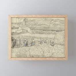Landscape with Peasant Women Harvesting Framed Mini Art Print