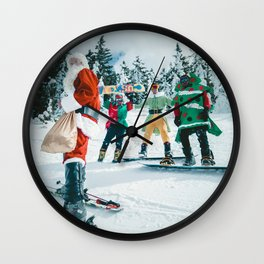 Santa Claus in the snow Wall Clock