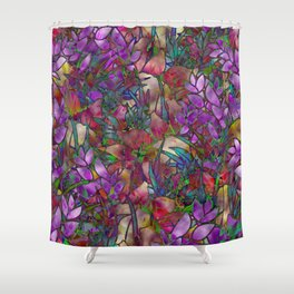Floral Abstract Stained Glass G175 Shower Curtain