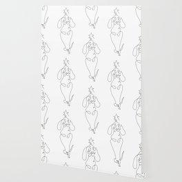 One Line Dachshund Yoga Christmas Tree Wallpaper