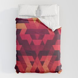 Abstract  geometric triangle texture pattern design in diabolic future red Comforters