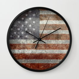 USA flag - Old Glory in dark grunge Wall Clock