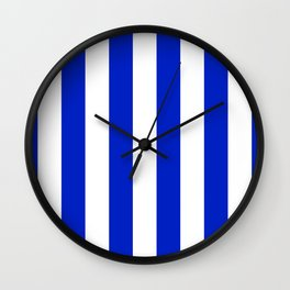 Cobalt Blue and White Wide Circus Tent Stripe Wall Clock