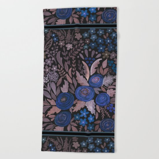 Watercolor blue flowers . The blue of the night . Beach Towel