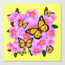 PINK WILD ROSES YELLOW MONARCH BUTTERFLIES Canvas Print