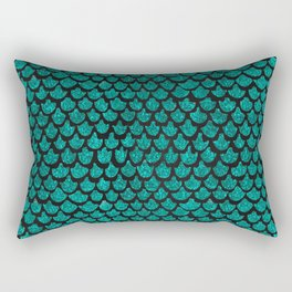 Mermaid Glam // Turquoise Glitter Watercolor Scales on Charcoal Chalkboard Rectangular Pillow